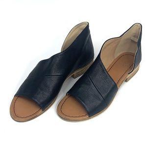 Women's black leather open toe flat sandals